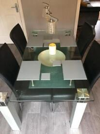 Glass table dining room table