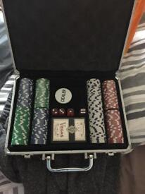 Casino chips and case