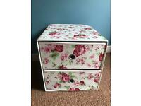 Ikea 2 drawer floral fabric storage