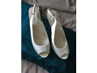 Wedding Shoes, Cream sling backs, with Diamontes on front