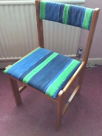 Desk Chair in pine with funky upholstery