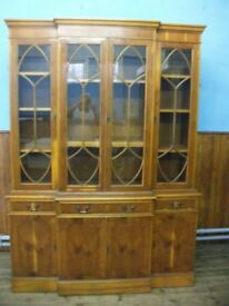 Large Reproduction Georgian Style Yew Wood Breakfront Library Bookcase