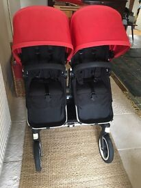 Red Bugaboo Donkey Duo With Additional Items