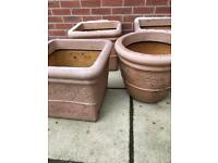 Garden 4 plastic tubs 3 square 1 round large planters