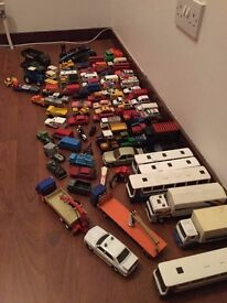 Large Quantity of vintage matchbox corgi and Siku cars buses and lorries.