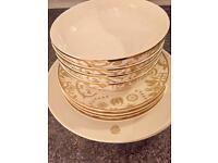 NEW DESIGNER LUXURY white/beige and gold Marcel Wanders dinner set for four MUST SELL