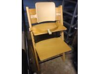 Stokke high chair with baby set. Well used, good condition