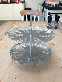 Metal Two Tier Cake Stand Vintage/Retro