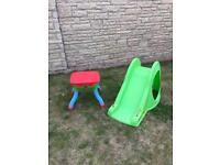 Children's sand/water tray and slide. Excellent condition, hardly used.
