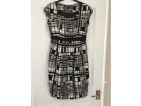 Hobbs dress Navy and Cream size 10 matching shoes
