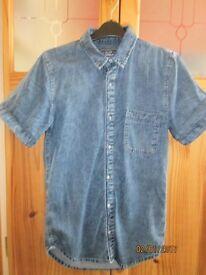 Men's Denim short sleeved shirt size xs classic fit by Topman