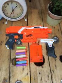 Nerf Stryfe Blaster with 7 bullets and accessories (sight and clip on grip)