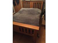 Solid oak double bed frame, no mattress, vgc