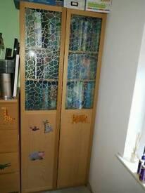 Book case oak Billy ikea with doors.