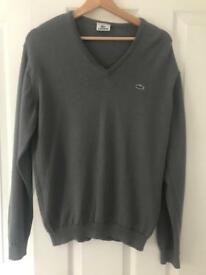 Lacoste Dark Grey V-Neck Sweater