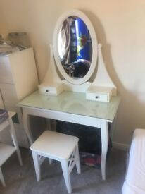 Ikea White Dressing Table And Stool