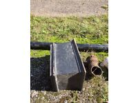 Vintage cast iron rainwater hopper and miscellaneous cast iron guttering parts