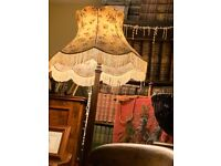 Antique Oak Standard Lamp with old floral characterful shade