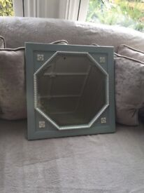 Duck egg & cream vintage octagonal mirror with square surround