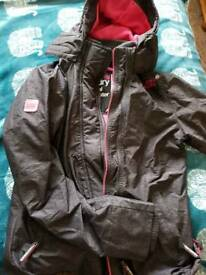 Ladies Charcoal and Pink Superdry Windcheater Size L
