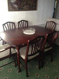 Rossmore mahogany dining room table and chairs