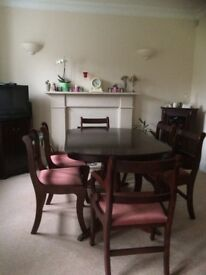 Dining room set: extensible butterfly mechanism table with 6 chairs