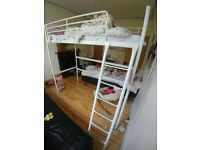 IKEA single bunk bed, SVARTA, white, with mattress.