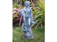 VINTAGE LARGE ELEGANT YOUNG LADY HOLDING BASKETS GARDEN STATUE 67cm TALL