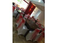 Chair Cover Hire cheap prices, chair covers table cloths backdrops mr&mrs LOVE postbox