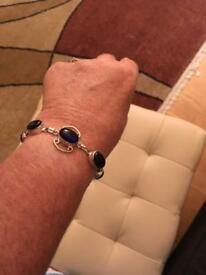 Ladies bracelet with genuine blue London Topaz stones new