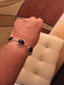 Ladies bracelet with genuine blue London Topaz stones new