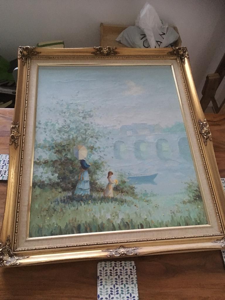 Large du Bois gold framed painting canvas art