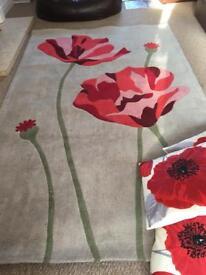 Wool rug plus 4 poppy sofa scatter cushions