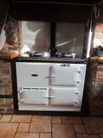 Classic Aga Cooker, 2 oven, White/Black, Oil fired, currently dismantled
