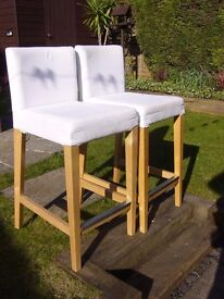 IKEA stools HENRIKSDAL white cover modern look solid beech wood legs breakfast