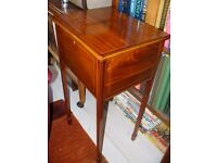 original Edwardian antique sewing table, sewing box with new padding, restored, c. 1890