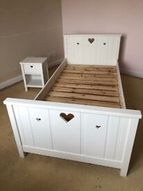 John Lewis Children's white bedroom set - single bed, chest of drawers, bedside table and wardrobe