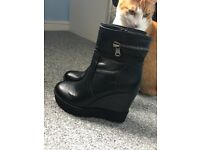 Black High Chunky Wedged Boots
