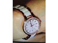 DKNY Ladies White and Gold Watch