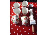 Cath Kidston 6 strawberry mugs used once & new rolling pin