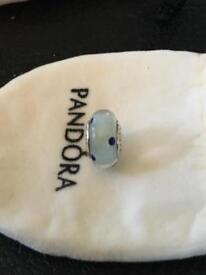 Ladies genuine pandora ale murano charm light blue with dark blue spots