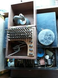 Vintage watch making tools and many spare parts