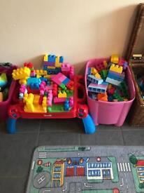 Duplo Lego table and big box of Lego