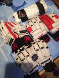 3 pairs of right handed cricket gloves and arm guard
