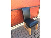 4 x leather dining chairs Oakland Furniture