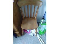 2 x farmhouse pine dining chairs