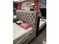 Velvet SLEIGH bed in good condition colour grey
