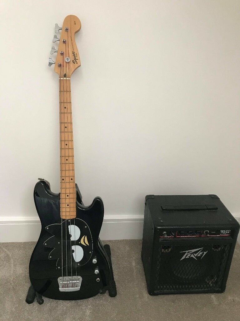 Rare Squier Fender Electric Bass Guitar and Amplifier