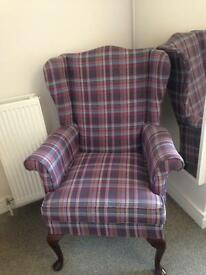 Tweed check arm chair