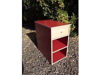 Red office drawer unit 60cm d x35cm w x 64cm h suit printer at side of desk.